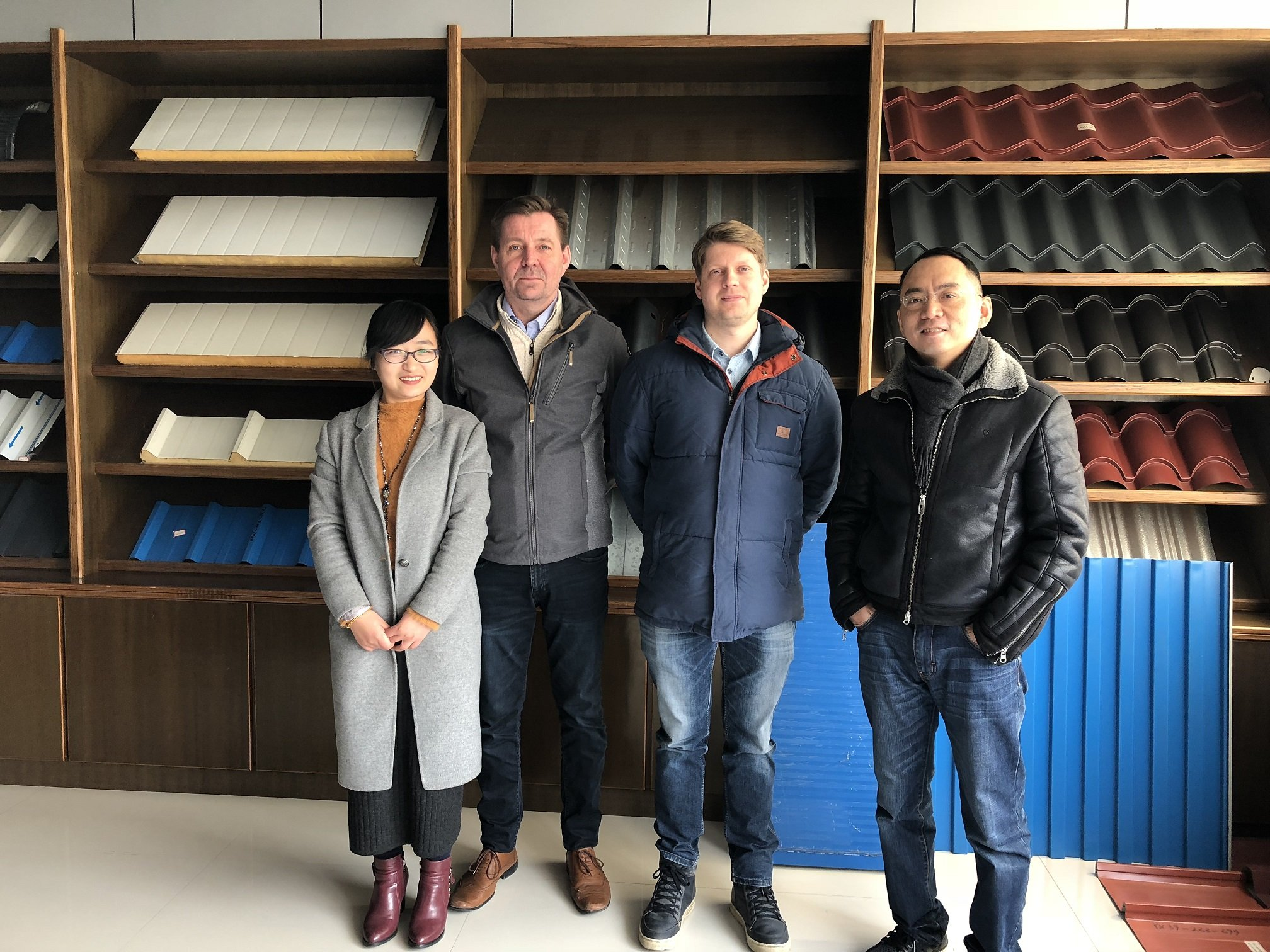 Visitor from Finland for automatic CZ purlin roll forming machine March 09,2018