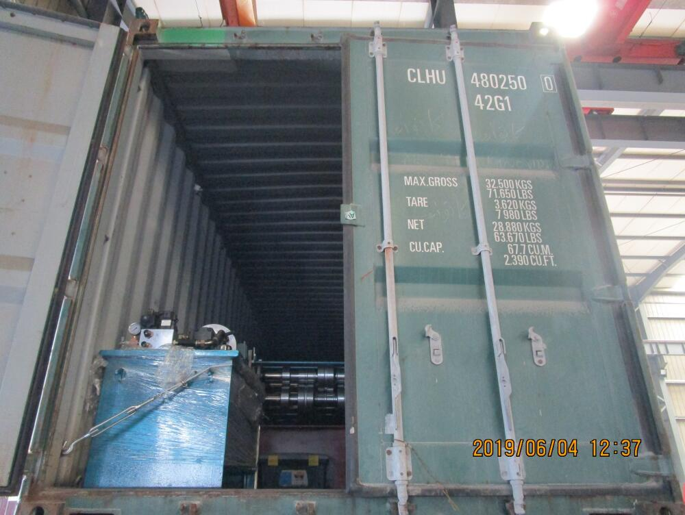 Two containers of delivery of metal deck roll forming machine on June 04,2019